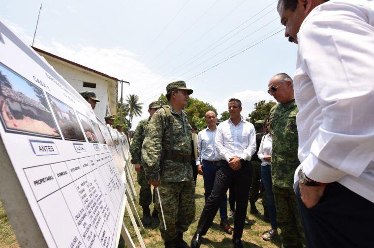 Constatan Gobierno de Oaxaca y SEDENA avances de reconstrucción de viviendas en Jamiltepec (1)
